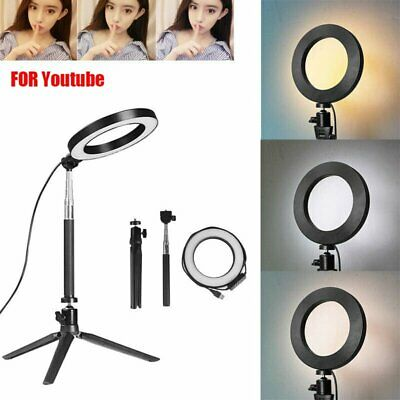 6'' LED Ring Light Kit With Stand Dimmable 5500K Selfie For Camera Makeup Phone