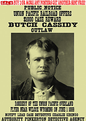 Old West Wanted Poster Cassidy Gang Sundance Kid Train Bank Outlaw Reward