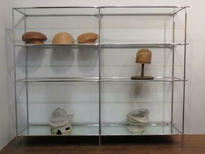 Antique Classic Art Deco Chrome And Glass Shop Fitting Display Unit Retail Shelf