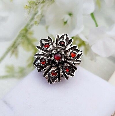 Antique Victorian 15ct Gold Sterling Silver Statement Garnet Flower Ring Size K