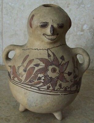 Antique Nazca Polychrome Anthromorphic Figual Effigy Tripod Vessel