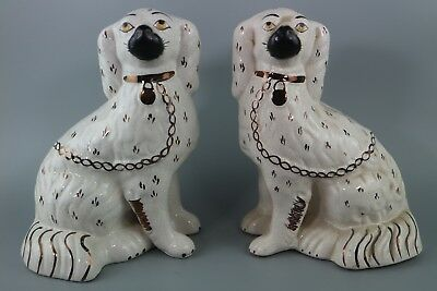Antique Staffordshire Wally Dog with Separate Front Leg Copper Lustre 23cm high