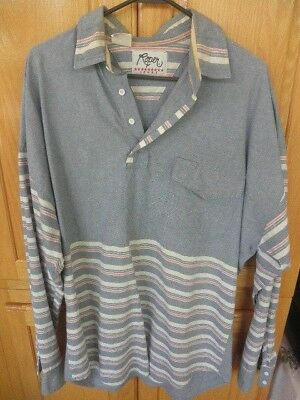 Vintage Mens Roper Sport 3 BUTTON SHIRT BLUE + WHITE RED STRIPED