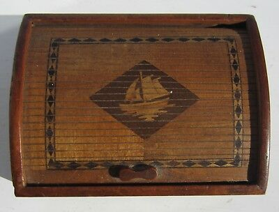 Antique ART DECO  wood box with roll-top decorated lid for trinkets/ studs