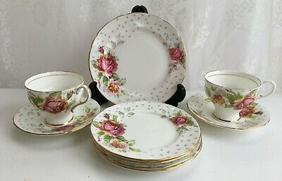 9 Piece Paragon 'Golden Emblem'  Pink/White Roses Tea Cup/Saucers/Plates (419)