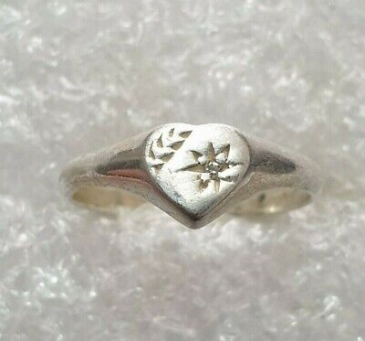 Beautiful White Topaz Classic Ring Solid Silver 925 vintage Ring Size J~J1/2