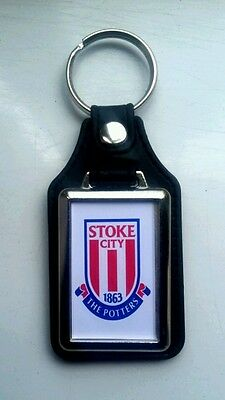 Stoke City Quality leather fob Keyring. NEW