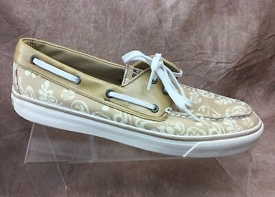 b605b5d73ef93 SPERRY TOP-SIDER BISCAYNE 2-eye Tan Cream Boat Shoes Hibiscus Women's size  10 m