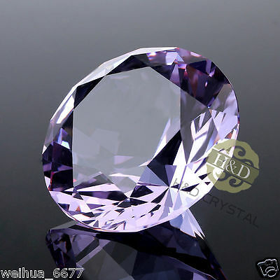 30mm Purple Crystal Diamond Shaped Paperweight Glass Gem Display Ornament Gifts