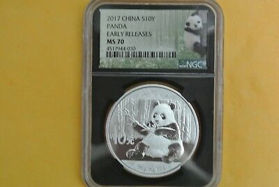 2017 China ¥10 Silver Panda 30g NGC MS70 Early Releases