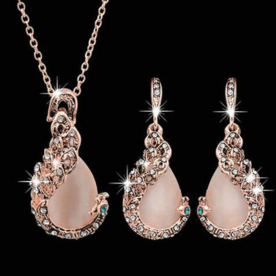 Women Rhinestone Exquisite Jewelry Set Waterdrop Pendant Necklace Earrings Chain