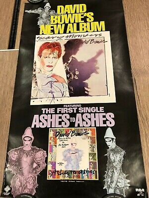 """Rare David Bowie Genuine Us Rca """"scary Monsters"""" Album Promo Poster"""