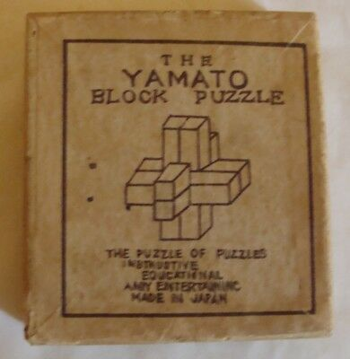 ** VINTAGE YAMATO Wooden Block Puzzle Boxed With Instruction Sheet Nice  Look **