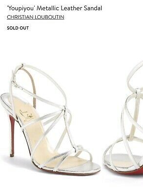 1b122481a18f Guaranteed Authentic Christian Louboutin Silver Youpiyou Strappy Sandals  Size 38