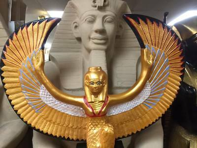 Unique Large Hand Made Egyptian Goddess Isis Statue 30''W X 26'' H Made IN Egypt
