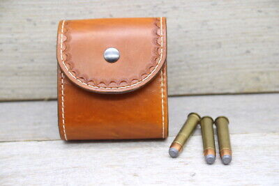 Custom Leather Hand Tooled Magnum Rifle Cartridge Belt Carry Ammo Pouch