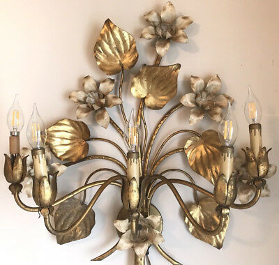 Antique Italian Electric Tole Wall Sconce Chandelier Metal Sculpture ITALY