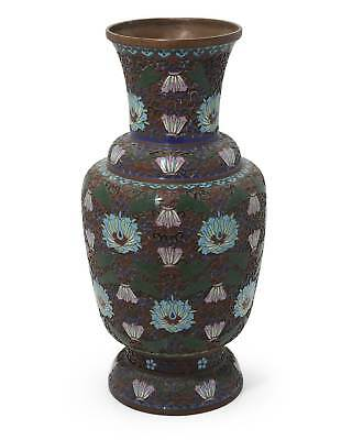 Antique Champleve Chinese Enamel Metal Vase with Floral Scroll Design Throughout