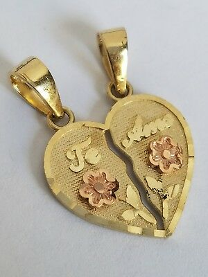 "14k solid Yellow Gold 2 piece Te Amo love Split Heart Pendant Charm .85"" lng"