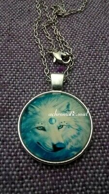 Beautiful Third Eye White Wolf Glass Dome Pendant Silver Colour Necklace & Chain