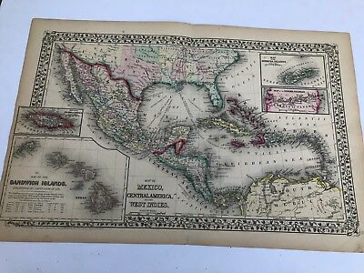 Antique Augustus Mitchell 1871 Map of Mexico Central America and the West Indies