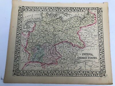 Antique Augustus Mitchell 1871 Prussia and the German States Map