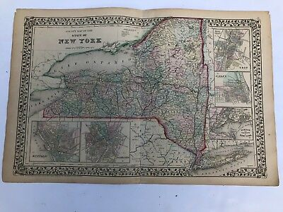 Antique Augustus Mitchell 1871 County Map of the State of New York