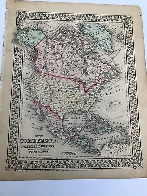 Antique Augustus Mitchell 1870 Map of North America Showing Political Divisions