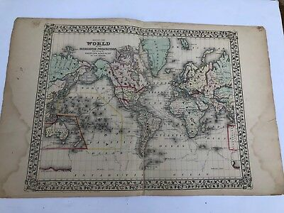 Antique Augustus Mitchell 1871 Map of The World on the Mercator Projection