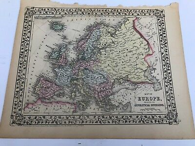 Antique Augustus Mitchell 1871 Map  of Europe Political Divisions