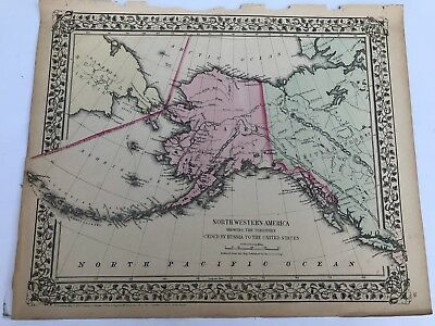 Antique Augustus Mitchell 1871 Map of Northwestern America Ceded by Russia