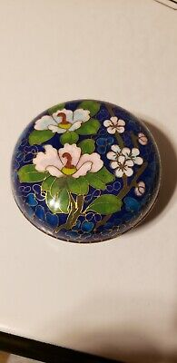 Vintage Chinese Cloisonne Round Box Beautiful Enamel Work
