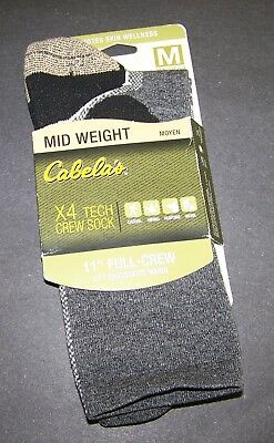 "8b366bdac60 Cabela s grey X4 tech crew sock 11"" full-crew men 6-9 women"
