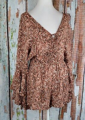 American Rag Lace-Up VNeck Tiered Bell Sleeve Romper Shorts Paisley Pink Brown L