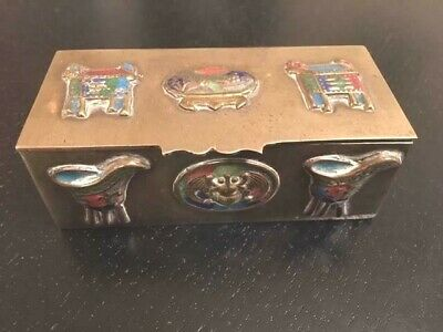 Antique Chinese China  Brass Stamp Box  Enamel Vases & Pots Decoration