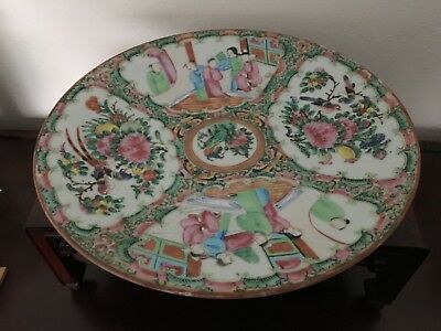 Large Chinese Antique Famille Rose Plate