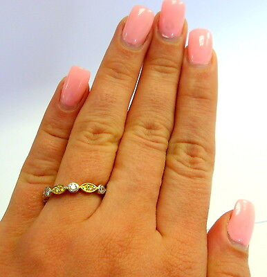 Ladies Beautiful 925 Two Tone Sterling Silver  Cz Stone  Alternative Ring Band
