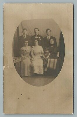Zionist Jewish-American Family w Israeli Flag RPPC Antique Studio Photo 1910s