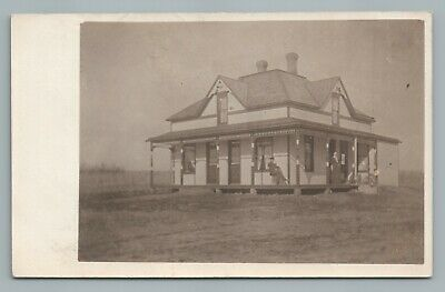 Wooden Arts & Crafts House—Riverton Iowa RPPC Fremont County Antique Photo 1909