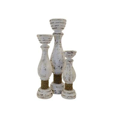 Hamptons goblet candle sticks with rope tie set of 3