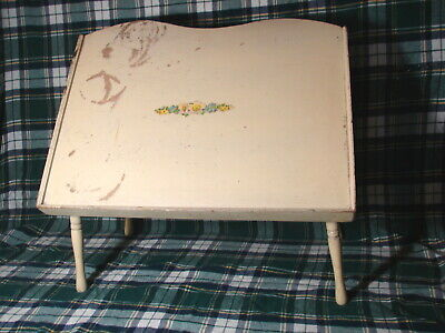 Vintage FOLDING LAP BED TRAY TILTING DESK Shabby Chic Wood Serving Table