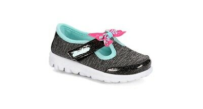 Skechers Toddler Girl Bitty Bow Sparkly Black Comfy Slip-on Sneakers 9M or 10M