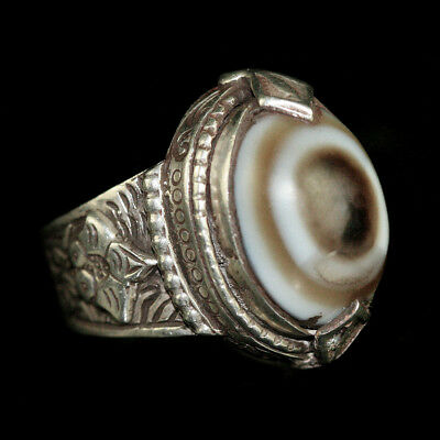 Persian silver and brass ring with agate eye bead bezel; y2749