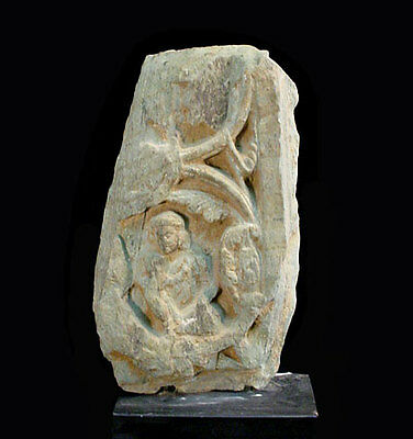 Gandharan green schist fragment depicting maiden among foliage. 2-3 C A.D. x5857