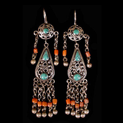 Pair of Pashtun silver tribal earrings with turquoise and coral beads. x6002