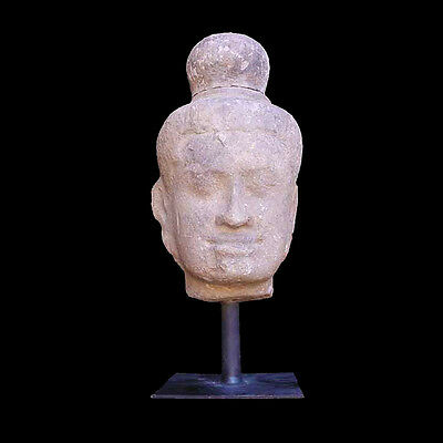 A Khmer sandstone head of possibly Shiva x2545