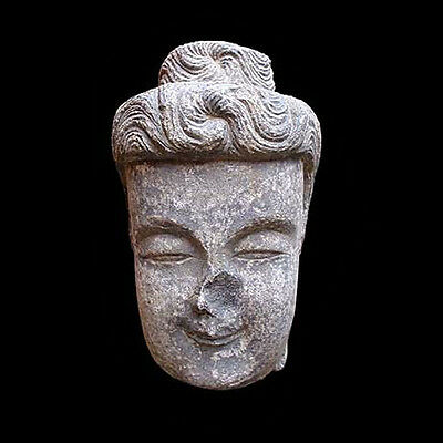 A large Chinese finely carved grey/black lime-stone head of Buddha x961
