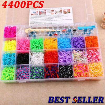 NEW DIY 4400pcs Rainbow Colourful Rubber Loom Band Bracelet Making Kit With Box