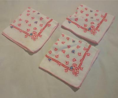 """3 Vintage Printed Cloth Napkins- Cute Rose Pink Blue Flowers approx 12 by 12"""""""