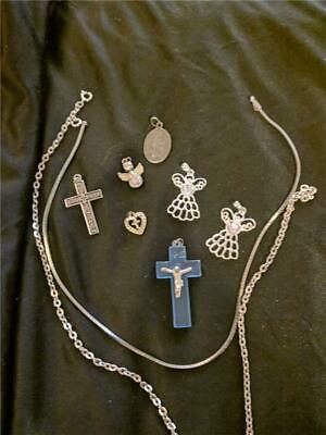 Vintage Religious Jewelry Lot 7 Pendants  2 Silver Tone Chains Angels Crosses